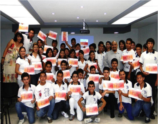 Students in Monterrey, Mexico celebrate completion of the Cisco Networking Academy IT Essentials course.