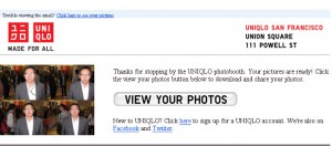 Uniqlo Photo Booth Email