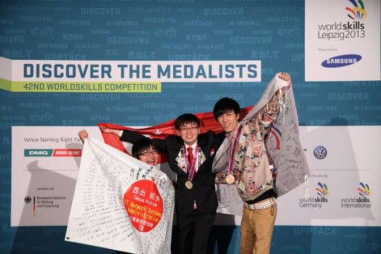 Two of the three Skill #39 medal winners in at WorldSkills 2013 were Cisco Networking Academy students. Pictured: Takuya Nishide, Jason Soh, and Hui-zhong Liu. Photo courtesy WorldSkills.