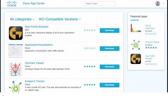 Cisco ACI App Center GUI