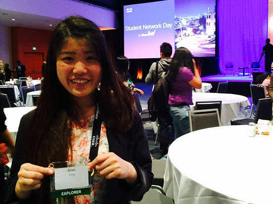 The day before her graduation from San Jose State University, Ellen Song attended Student Network Day at Cisco Live to learn more about the technology sector as a potential career path.