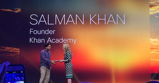 Sal Khan, founder of the online Khan Academy, is welcomed on stage at Cisco Live by Chief Marketing Officer Blair Christie