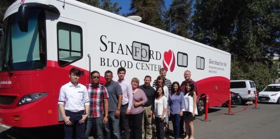 Blood donation truck.