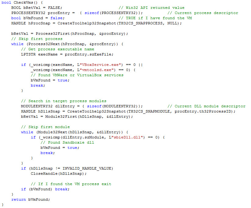 Figure 2: The CryptoWall simple Anti-VM check code