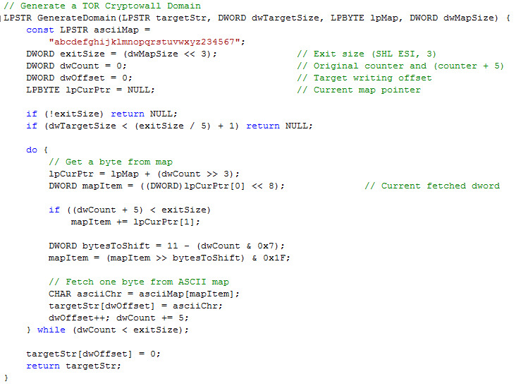 Figure 3: The code of the DGA algorithm in the TOR client