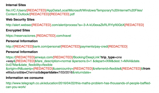 Figure 6: Examples of HTTP referrer's exfiltrated by these ad-injectorapplications. Ad-Injectors do not distinguish between internal sites, files, error pages or external sites. They will attempt to inject advertising at any level and they see all the sites we visit through our browser.