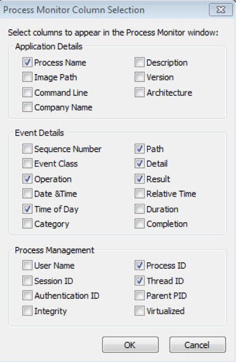 Figure 6. Screenshot of ProcMon Configuration