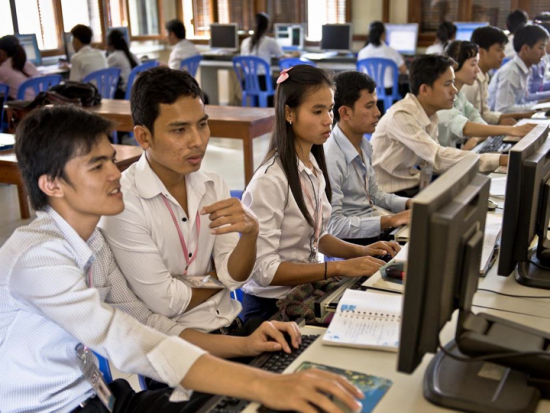 Cisco Networking Academy students in Cambodia have access to online courses and interactive activities.
