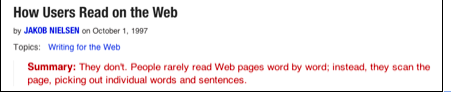 how users read on the web