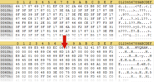 vdfd1f6ed - x64 shellcode (top: ciphertext, bottom: plaintext)