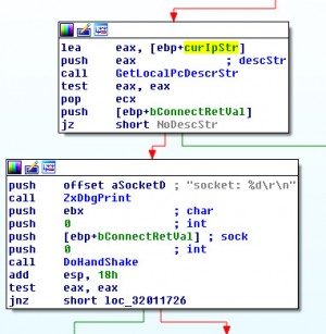 Image 4. The GetLocalPcDescrStr and DoHandshake functions called before  starting the command processing