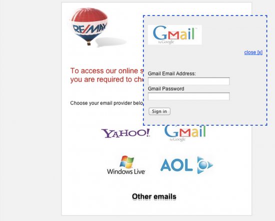First RE/MAX phishing attack observed in April 2012