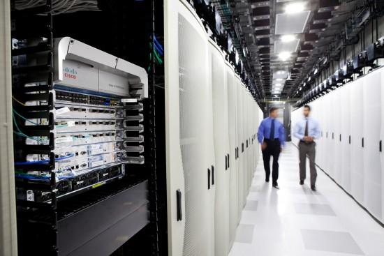 Two men in tech area
