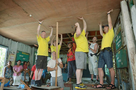 The V-MED team rebuilt a primary school that was devastated after the typhoon to make sure children could continue their education.