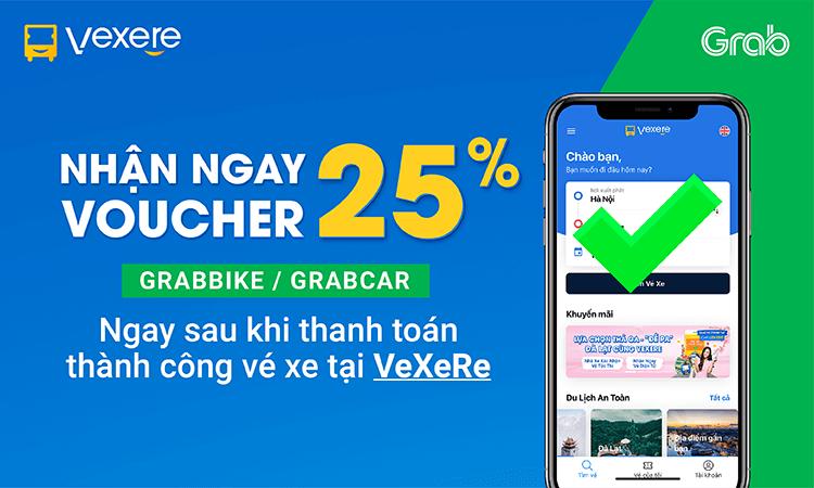 Voucher ưu đãi 25% từ đối tác Grab