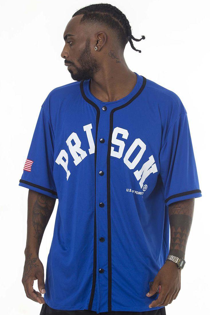 Camisa de Baseball Prison Nyc Azul