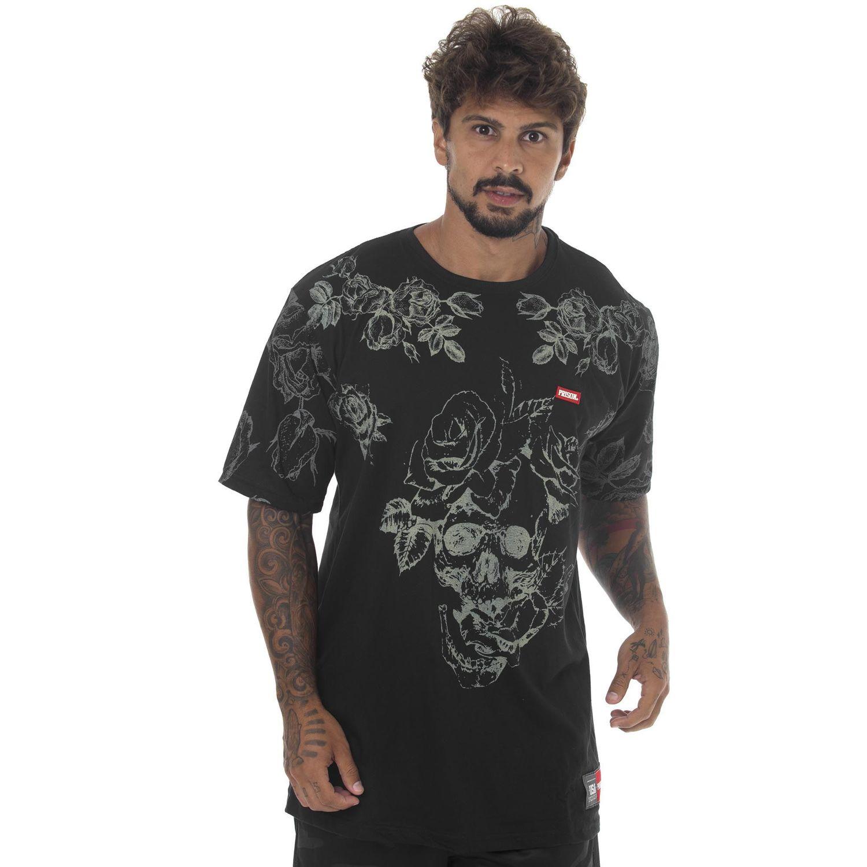 Camiseta Prison Floral Off Preta