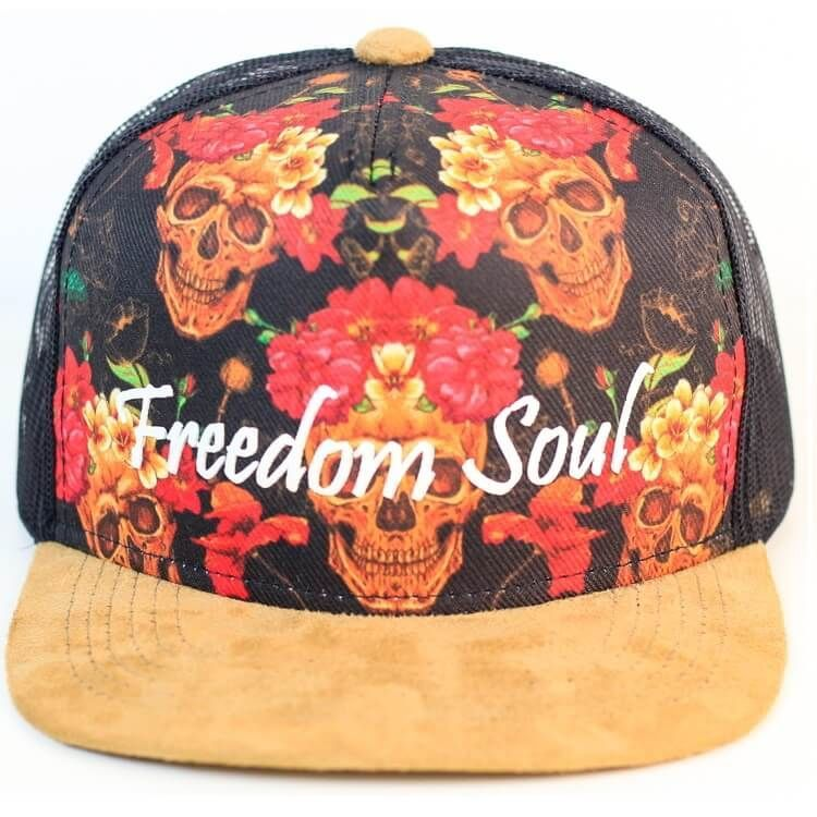 Boné Snapback Flowers and Skulls (Freedom Soul)