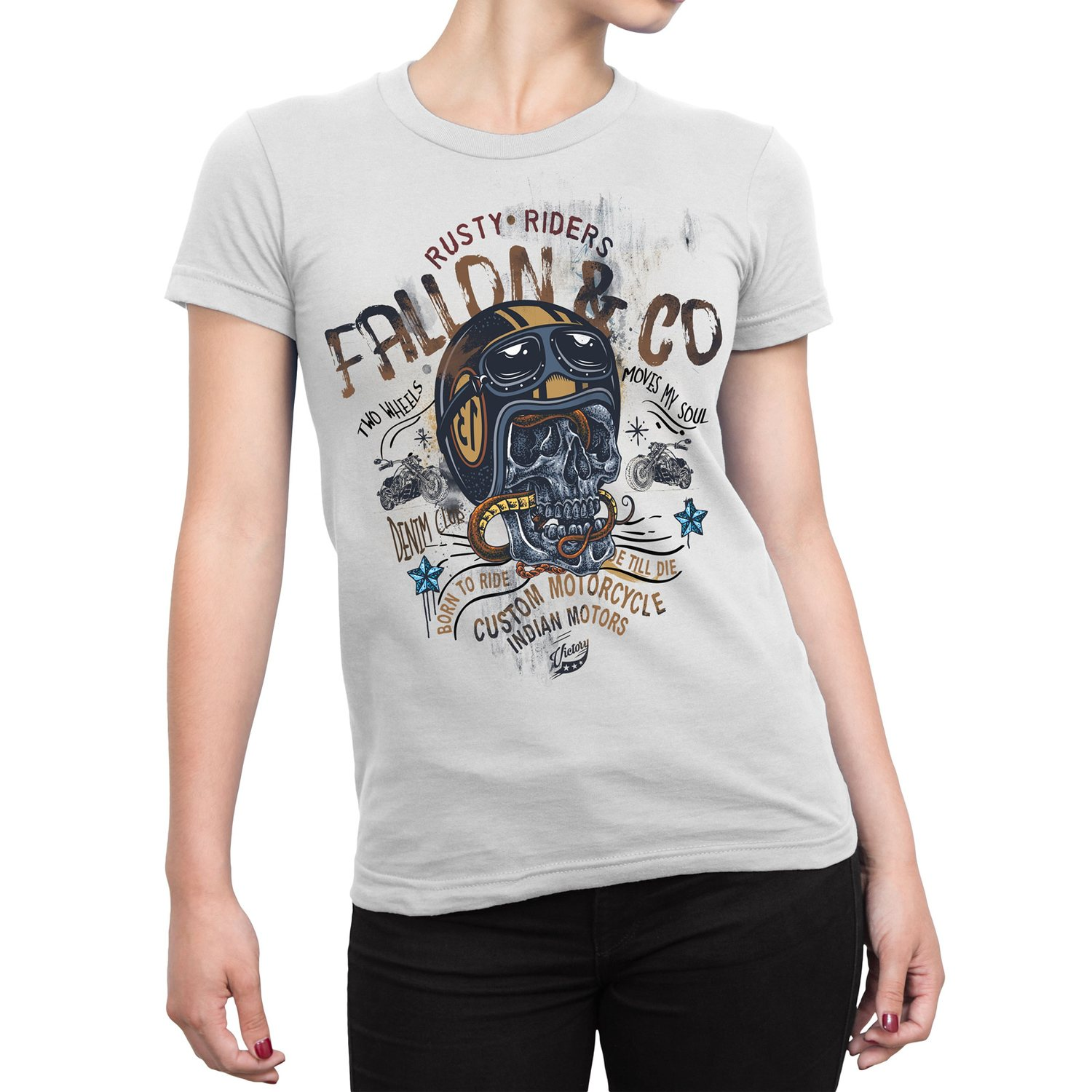 Camiseta Feminina Fallon Born to Ride II Branca