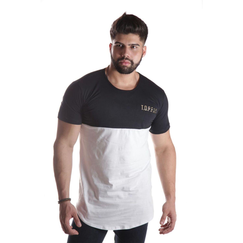 Camiseta Top Fit Vision Branca/Preta
