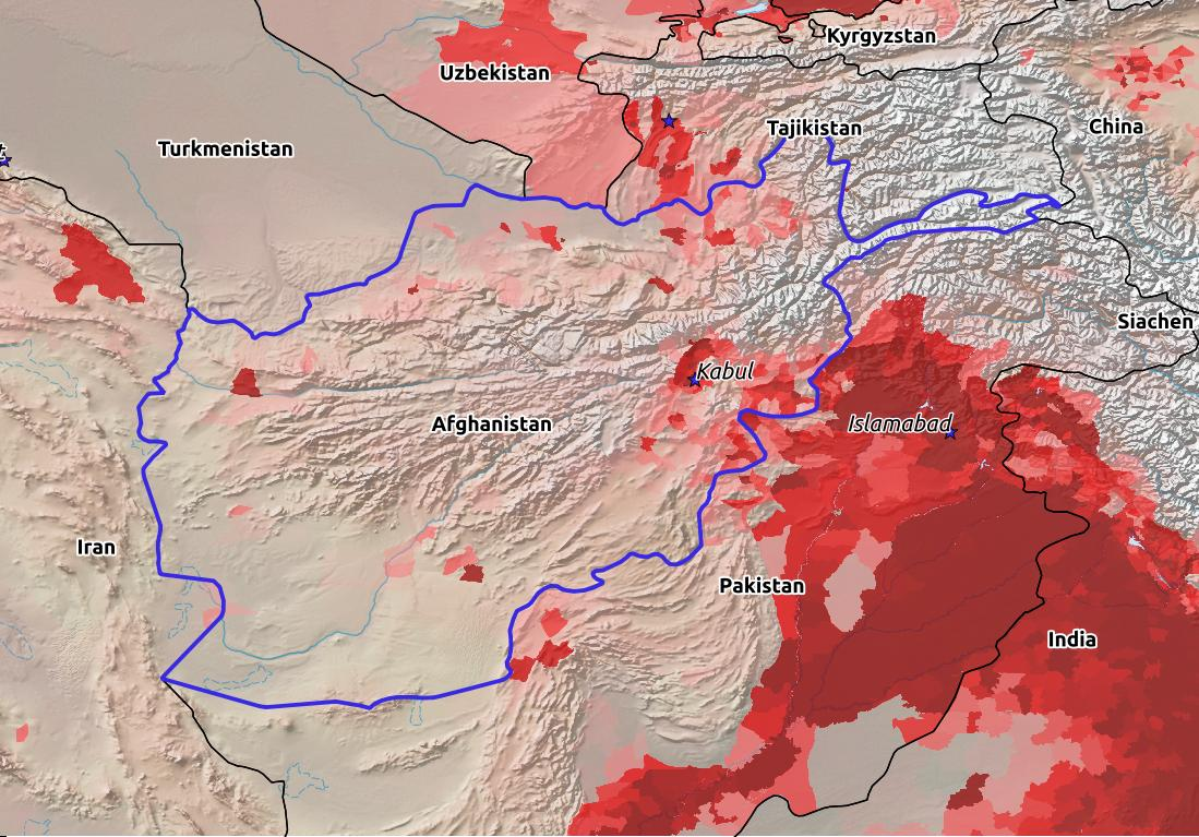 Map of Afghanistan with world location, topography, capital city, and nearby major cities.