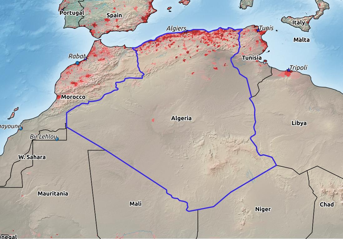 Map of Algeria with world location, topography, capital city, and nearby major cities.