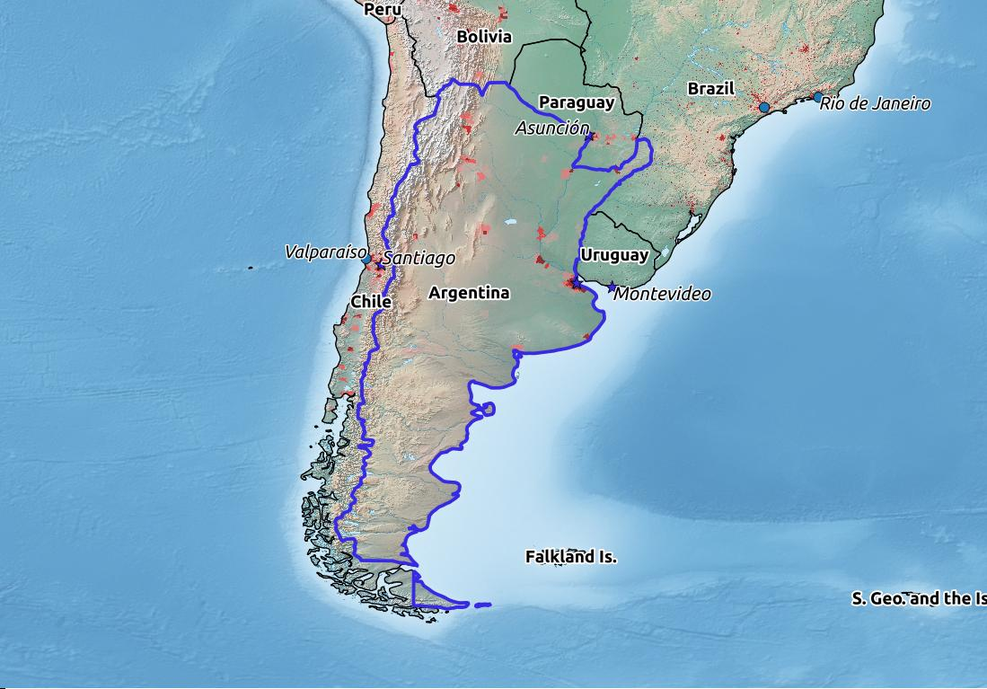 Map of Argentina with world location, topography, capital city, and nearby major cities.