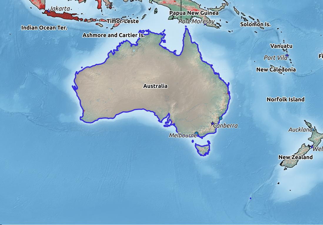 Map of Australia with world location, topography, capital city, and nearby major cities.