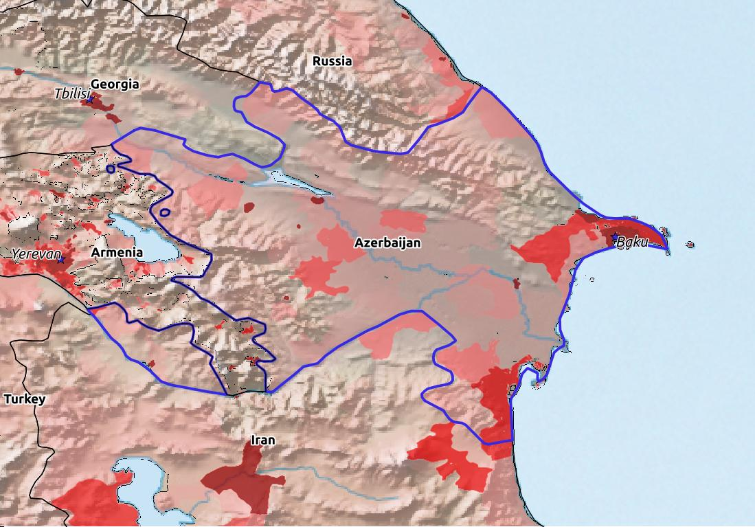 Map of Azerbaijan with world location, topography, capital city, and nearby major cities.