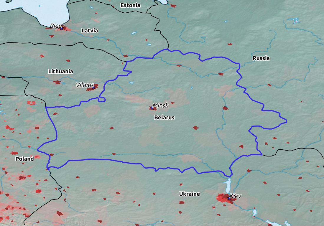 Map of Belarus with world location, topography, capital city, and nearby major cities.
