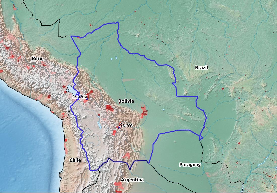 Map of Bolivia with world location, topography, capital city, and nearby major cities.