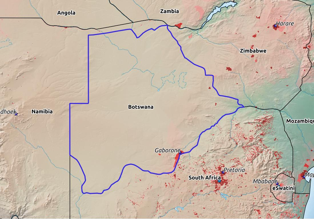 Map of Botswana with world location, topography, capital city, and nearby major cities.