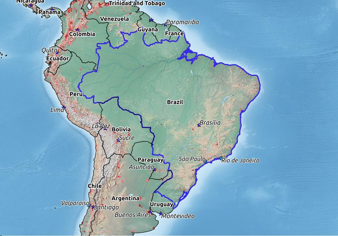 Map of Brazil with world location, topography, capital city, and nearby major cities.