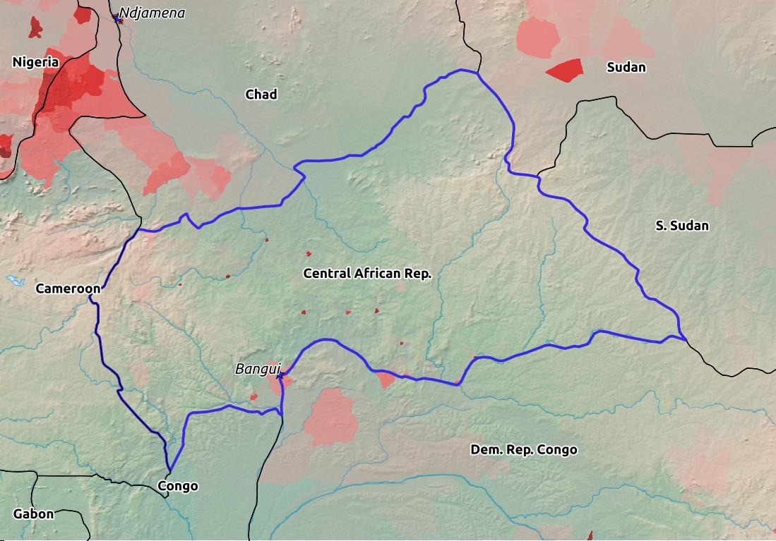 Map of Central African Republic with world location, topography, capital city, and nearby major cities.