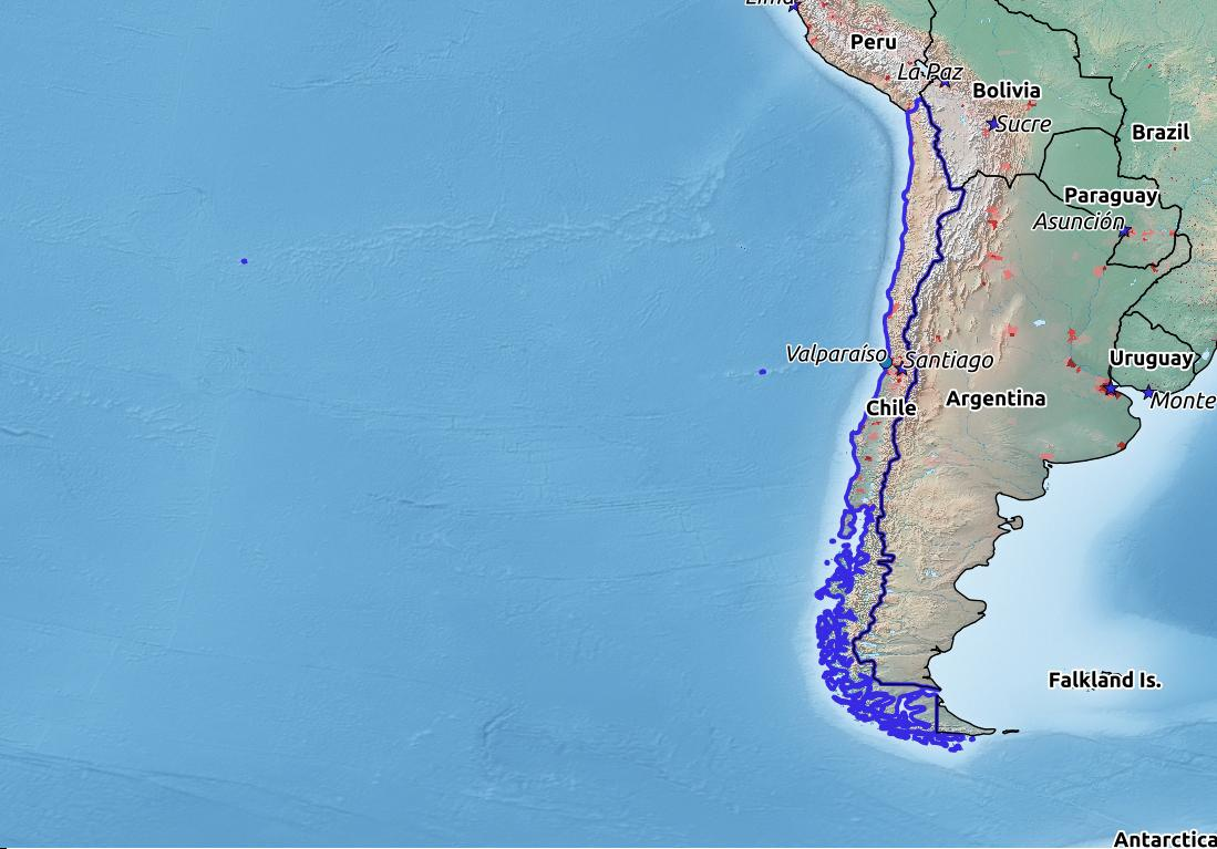 Map of Chile with world location, topography, capital city, and nearby major cities.