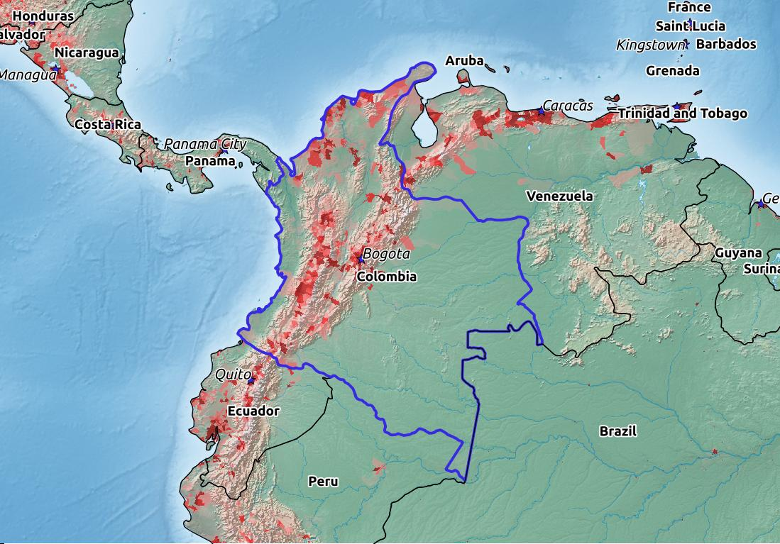Map of Colombia with world location, topography, capital city, and nearby major cities.