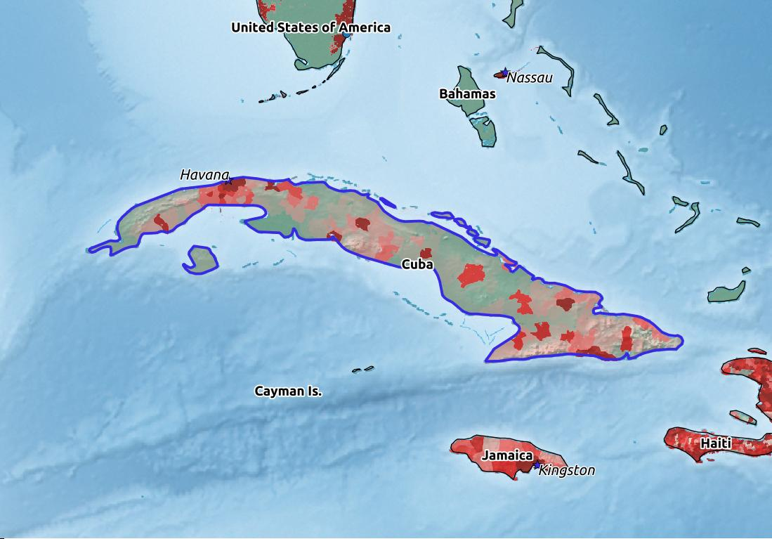 Map of Cuba with world location, topography, capital city, and nearby major cities.