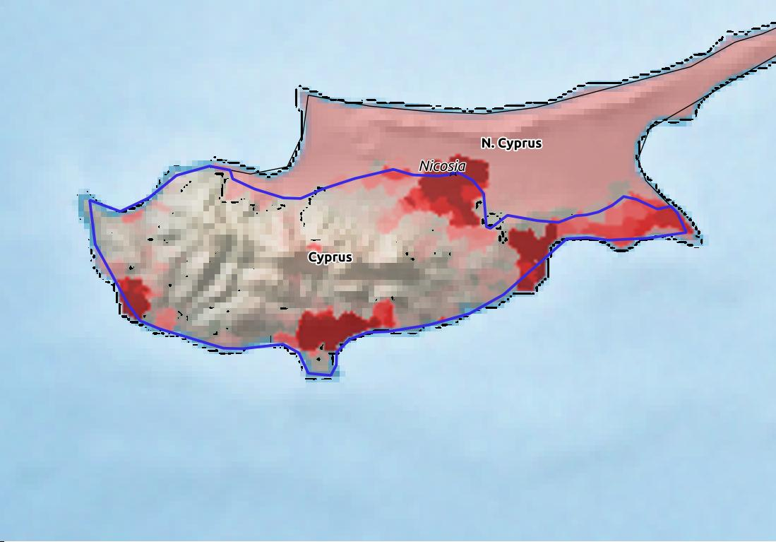 Map of Cyprus with world location, topography, capital city, and nearby major cities.