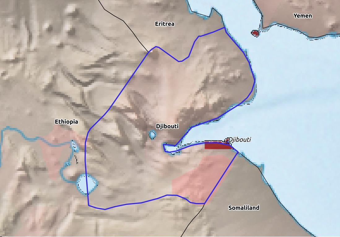 Map of Djibouti with world location, topography, capital city, and nearby major cities.