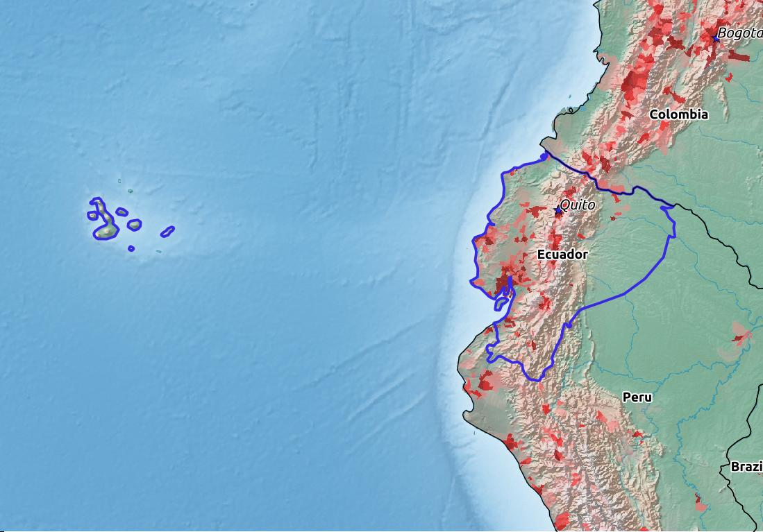 Map of Ecuador with world location, topography, capital city, and nearby major cities.