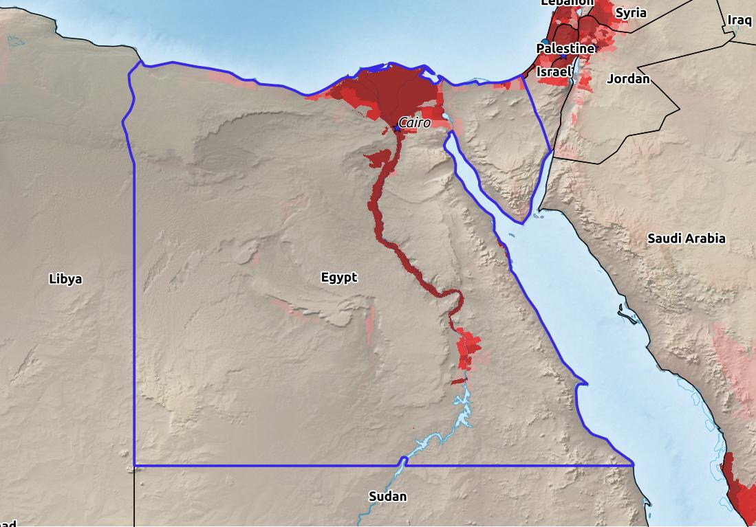 Map of Egypt with world location, topography, capital city, and nearby major cities.