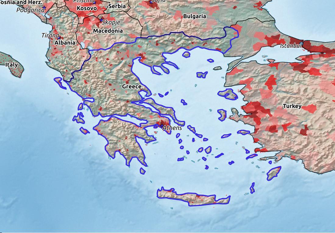 Map of Greece with world location, topography, capital city, and nearby major cities.