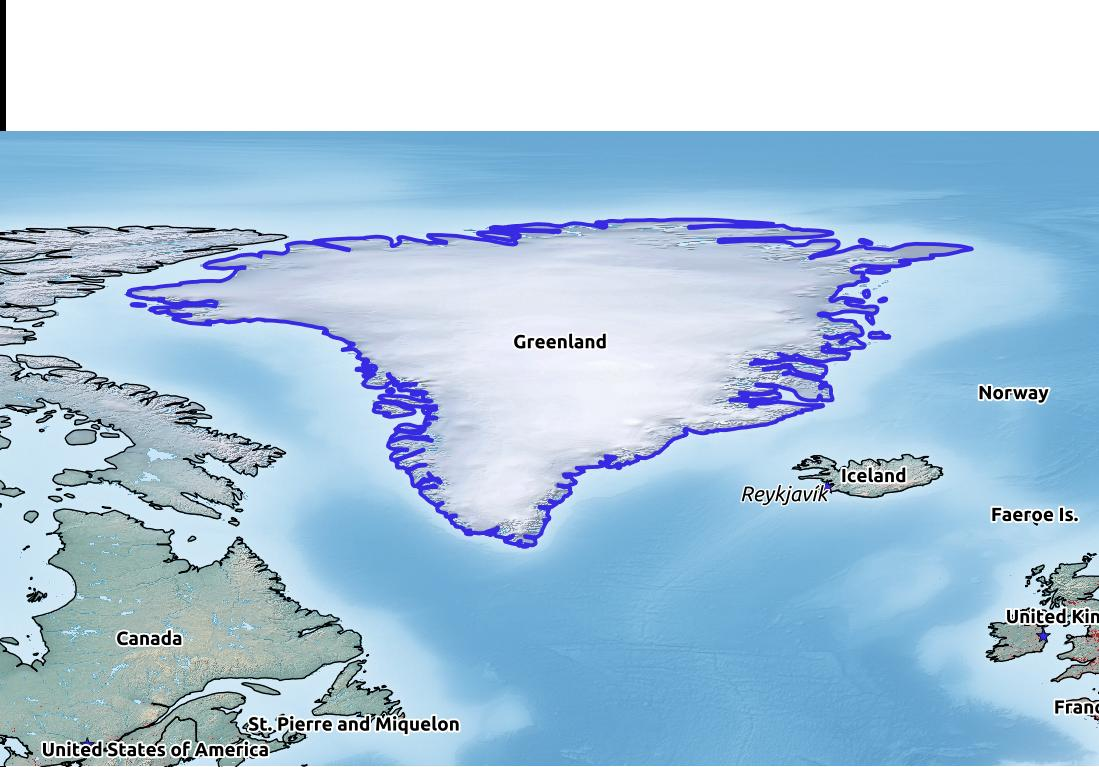 Map of Greenland with world location, topography, capital city, and nearby major cities.