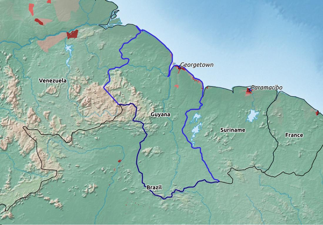 Map of Guyana with world location, topography, capital city, and nearby major cities.