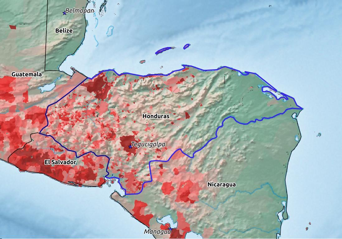 Map of Honduras with world location, topography, capital city, and nearby major cities.