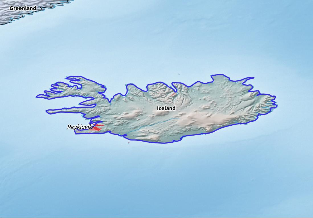 Map of Iceland with world location, topography, capital city, and nearby major cities.