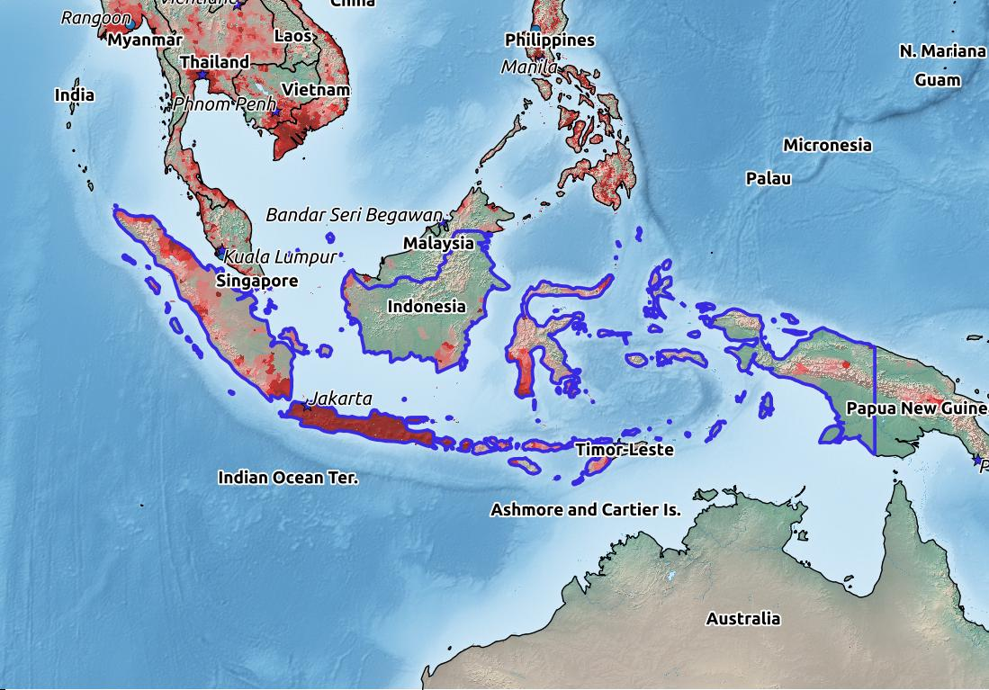Map of Indonesia with world location, topography, capital city, and nearby major cities.
