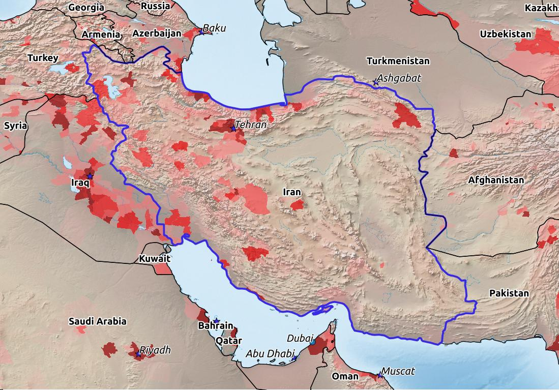Map of Iran with world location, topography, capital city, and nearby major cities.