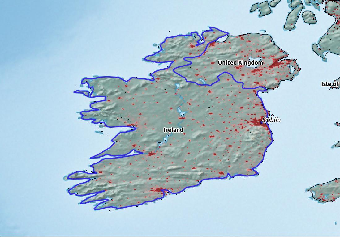 Map of Ireland with world location, topography, capital city, and nearby major cities.