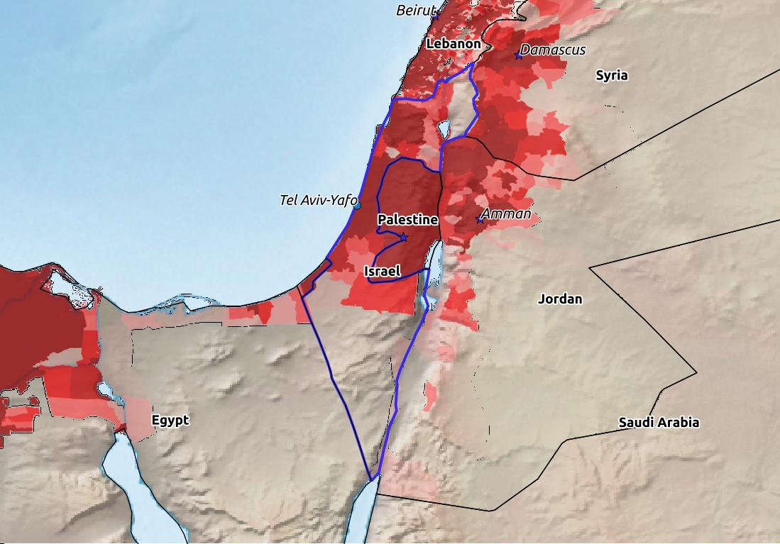 Map of Israel with world location, topography, capital city, and nearby major cities.